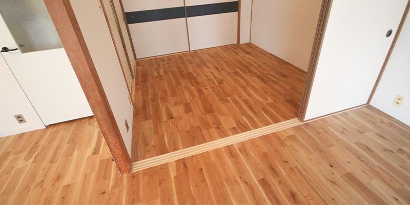 オーク無垢フローリングラスティック 和室部分施工