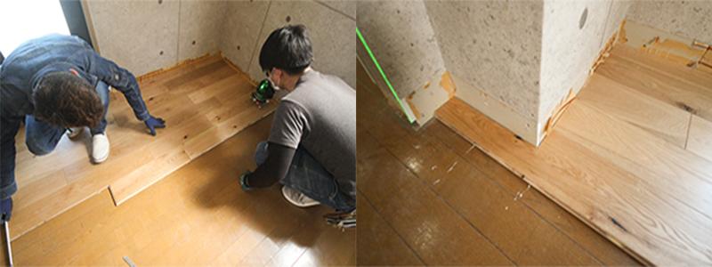 床材の固定とカット